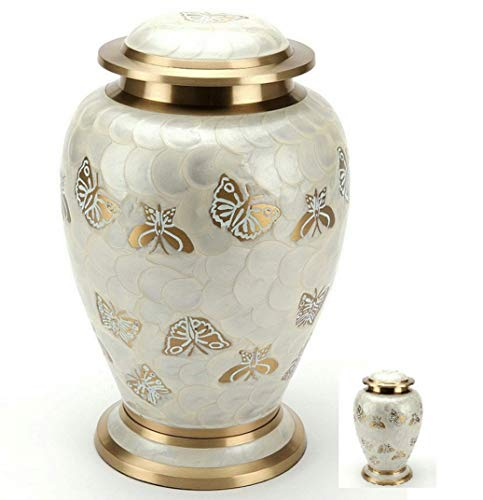 MEMORIALS 4U Golden Butterfly Cremation Urn Set for Human Ashes - Handcrafted Pearl Butterflies Adult Funeral Urn - Affordable Urn for Ashes - Large Urn Deal - Free Keepsake