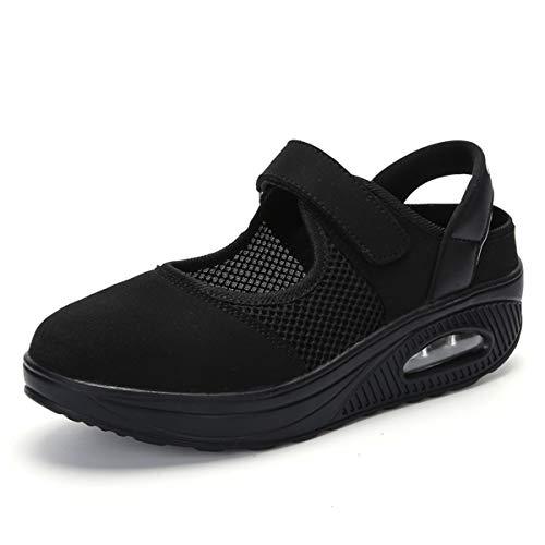 [Tisomen] ナース シューズ ウオーキングシューズ レディーズ クッション 滑りにくい 歩きやすい 疲れない 通勤 カジュアル 普段履き 23.5 ブラック 黒37