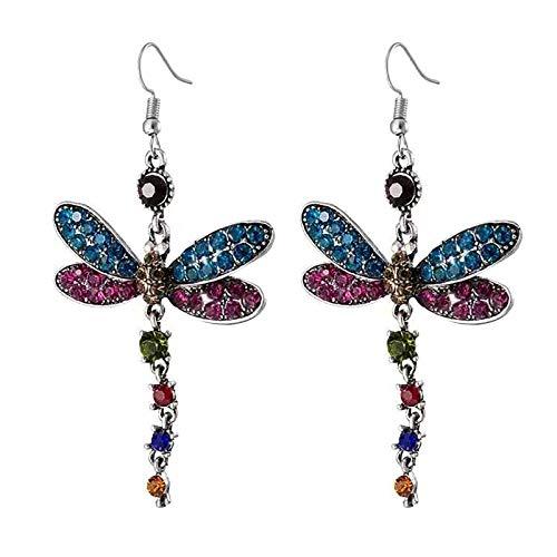 Pendientes De Borla Vintage Diamante Completo Pendiente De Insectos Multicolor Regalo De Joyería(Multicolor)