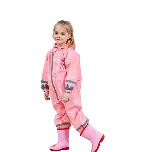 SSAWcasa One Piece Rain Suit Kids,Unisex Toddler Waterproof Rainsuit Rain Coat Coverall (L, Pink Rabbit)