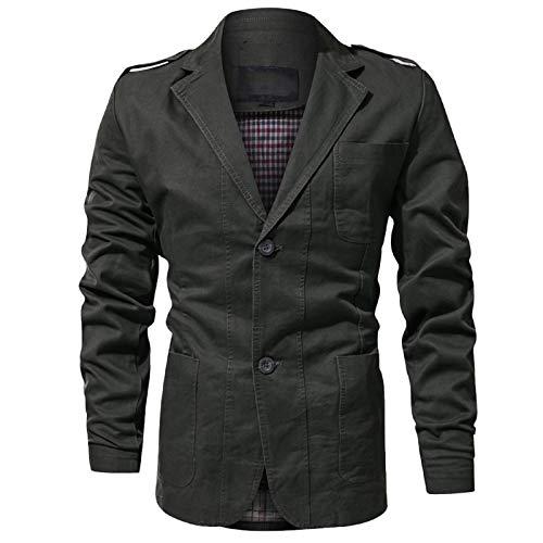Itemnew Man's Sports Notched Collar 2 Button Slim Distressed Denim Blazer Jacket Leather Trim (Large, Blue)