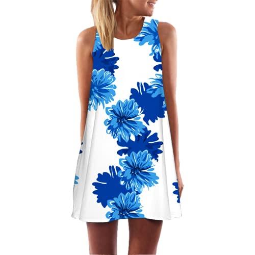 Vestido Casual De Cintura Bohemia Estampado Floral Falda De Playa Sin Mangas Elegante Mini Vestido Falda Plisada Damas Verano 3D XXL