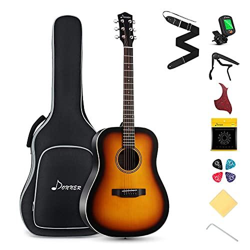 Donner Guitarra Acústica 4/4 de Adulto Guitarra Acústica Kit 41 Pulgadas Dreadnought de Principiante con...