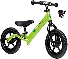 """TheCroco Balance Bike Premium Model 12"""" Lightweight High-Grade Aluminum to Make Riding Easy for Kids Ages 2, 3, 4 Years. Unbeatable Features: Bell, Handlebar Pad and Adjustable Seat & Handlebar Height"""