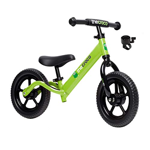 "TheCroco Balance Bike Premium Model 12"" Lightweight High-Grade Aluminum to Make Riding Easy for Kids Ages 2, 3, 4 Years. Unbeatable Features: Bell, Handlebar Pad and Adjustable Seat & Handlebar Height"