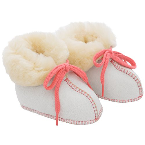 Baby-Schuhe aus medizinischem Lammfell von WERNER CHRIST- Fellschuhe, Lammfellschuhe für Kinder (Junge, Mädchen, Kleinkind), Hausschuhe mit rosa Garn, Größe 15-16