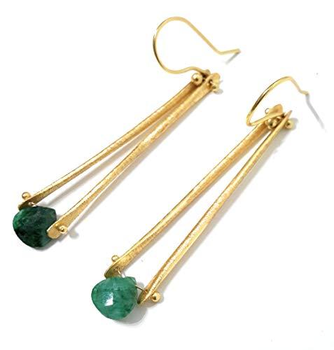 Pendientes largos mujer joyería delicada y preciosa cristales semipreciosos verde esmeralda, 24K baño oro hecho a mano en España