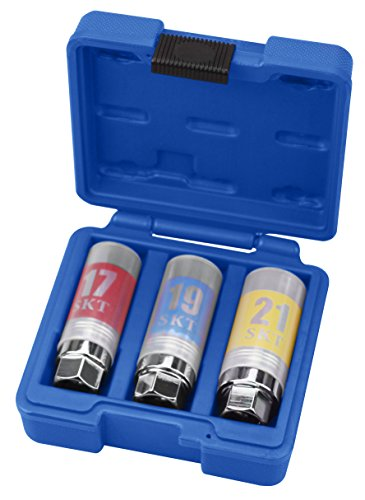"kauplus 3PCS 1/2"" Dr. Wheel Protector Impact Socket Set, Thin Wall Lug Nut - Metric, Standard 6-Point, 17mm - 19mm - 21mm"