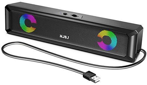 USB PC Lautsprecher, RGB Computer Lautsprecher 6W 2.0 Stereo Lautsprecheranlage mit Bunter Gaming LED Beleuchtung für PC Desktop Notebook Smartphone