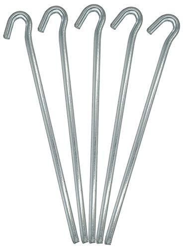 fiXte Steel Tent Peg Heavy Duty, 230 x 4.5 mm (9 inch) - Pack of 8 - silver