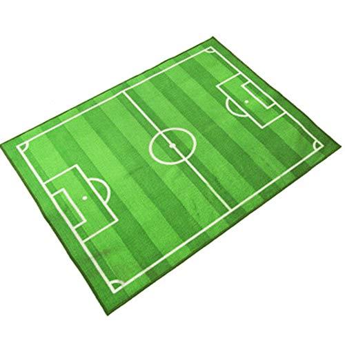 W.zz Teppich Kinderzimmer Fußball Spielteppich Kinderteppich Fußballplatz Grün,133x190cm