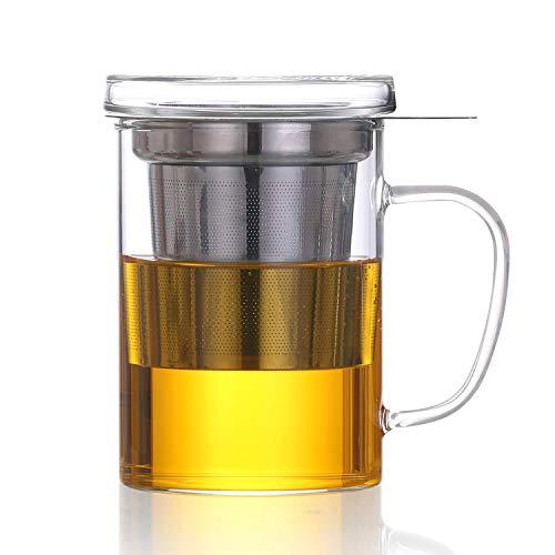 Teebereiter Dexlue mit Tee-Filter, Tee-Sieb und Deckel - Tee-Zubereiter Tea-Maker & Tee-Tasse in Einem; ca. 450 ml