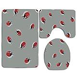Cute Ladybug Insect 3Pcs Alfombra de baño Set Alfombra de baño Antideslizante + Alfombrilla de baño en Forma de U + Cubierta de Asiento de Inodoro
