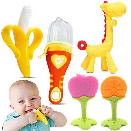 O³ Mordedor Bebe Refrigerante -5 Juguetes Bebes- Mordedor Bebes Congelador Fruta +Cepillo Dientes Bebe + Chupete Fruta Bebe-Alivian Dolor Encías