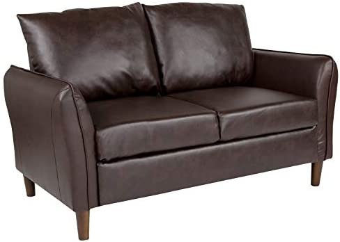 Best Flash Furniture Milton Park Upholstered Plush Pillow Back Loveseat in Brown Leather