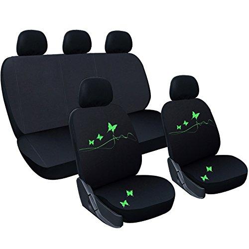 WOLTU AS7305 Universal Schonbezüge für Auto Sitzbezug Sitzschoner Autositzbezug, Butterfly Stickerei, Schwarz-grün
