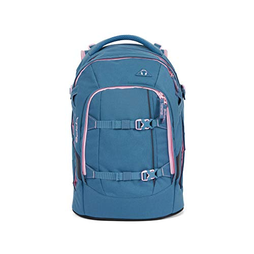 Satch pack Schulrucksack - ergonomisch, 30 Liter, Organisationstalent - Deep Rose - Hellblau
