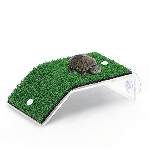 Nobleza - Plataforma Tortugas, Verde Realista Césped Tortugas Basking Plataforma con Ventosas, para Tortuga o Reptil, L8*W14CM