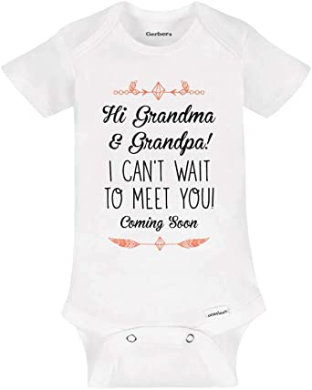 Grandpa Baby Gift Cute gift for Baby Meet Grandparents Can/'t Wait to Meet you Grandma and Grandpa Bodysuit Grandma Baby Gift
