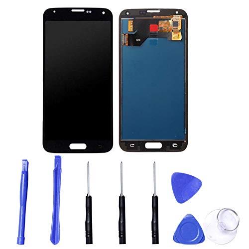Ersatzdisplay für Samsung Galaxy S5 i9600 G900 G900F, LCD-Display, Digitizer Rahmen, Reparatur-Set mit Display für beschädigte, rissige und zerbrochene Telefone Schwarz
