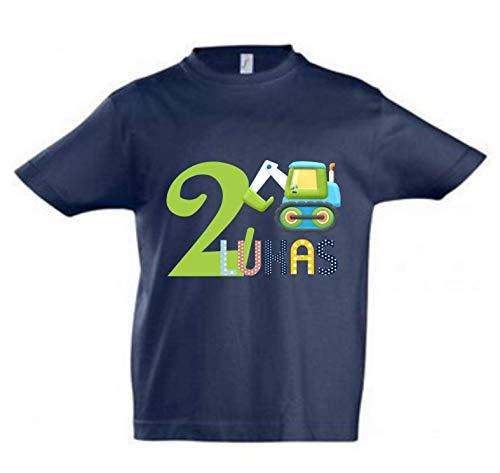 wolga-kreativ T-Shirt Geburtstag Junge ich Bin Schon 1 2 3 4 5 6 7 8 9 Jahre mit Namen TraktorBagger Auto Geburtstagsshirt personalisiert Kindergeburtstag Geschenk Kinder