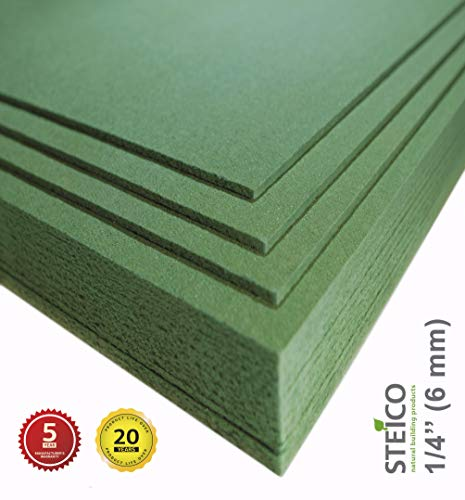 STEICO Wood Fiber Flooring Underlayment for Laminate Vinyl LVT LVP Hardwood Floor 6 mm 1/4 inch 90 SqFt Natural Sound Insulation Barrier