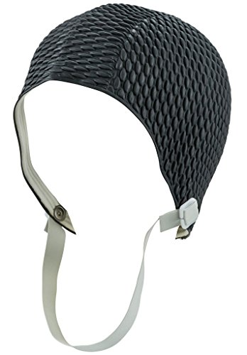 Latex Swim Cap - Women Stylish Swimming Cap Great for Ladies, Perfect to Keep Hair Dry - Suitable for Long Hair - Bubble Crepe with Chin Strap - BLk