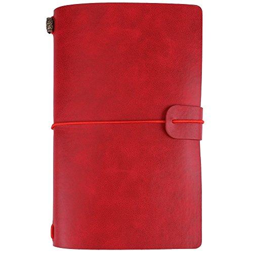 Hilitand - Cuaderno de viaje de piel sintética, 5 colores, diario personalizado, diario, bloc de notas recargable, color rojo