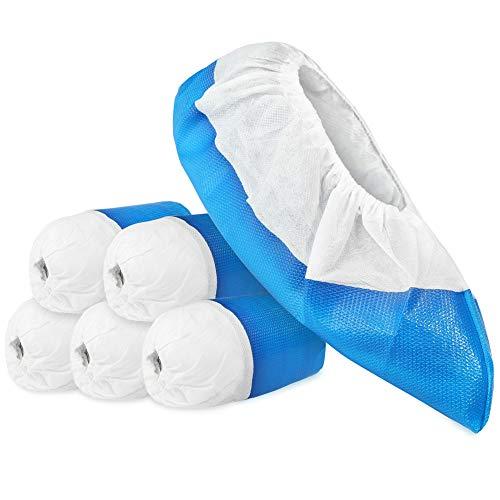 com-four® 50x Premium Mehrweg Überziehschuhe 11,9g je Überzieher - Plastik Schuhüberzieher mit Antirutsch-Sohle - Mehrweg-Schuh extra stark und wasserdicht - Überschuhe in Einheitsgröße