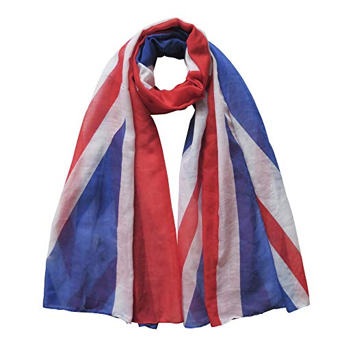 Lina & Lily Patriotic Flag Print Scarf Shawl Wrap Lightweight (UK - red, white, blue)