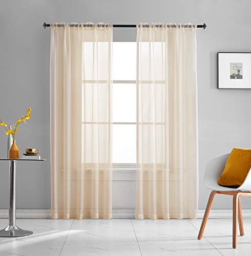 Beige Sheer Voile Curtains Translucent Solid Color 84 Inches Long 2 Panels Rod Pocket Beige Sheers for Bedroom Living Room 52x84