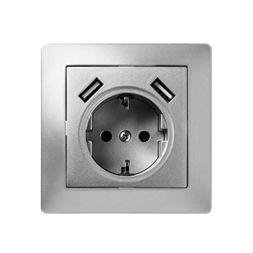 Famatel 9239 Base + 2USB | Enchufe de empotrar | Serie Habitat 15 | Fácil instalación Alta estanqueidad del Producto | Protección Infantil | TT | 16A | 250V | Aluminio