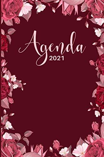 Agenda 2021: Agenda de 12 Meses con una Semana por Página, Tapa Blanda   Organizador semanal 2021   Planificador semanal 2021 escritorio   Agenda ... de 15 x 23 cm   Portada clásica simple Floral