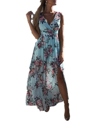 I3CKIZCE Vestido maxi mujer encaje estampado floral cuello en V sin mangas con abertura lateral casual sexy elegante verano turquesa XL