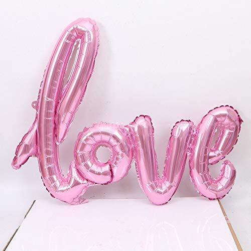 LQUIDE Liebe Aluminiumfolie Ballon Jubiläum Hochzeit Valentinstag Geburtstagsfeier Dekoration Foto Requisiten (Ballon Größe: 108cm, Farbe: Pink)