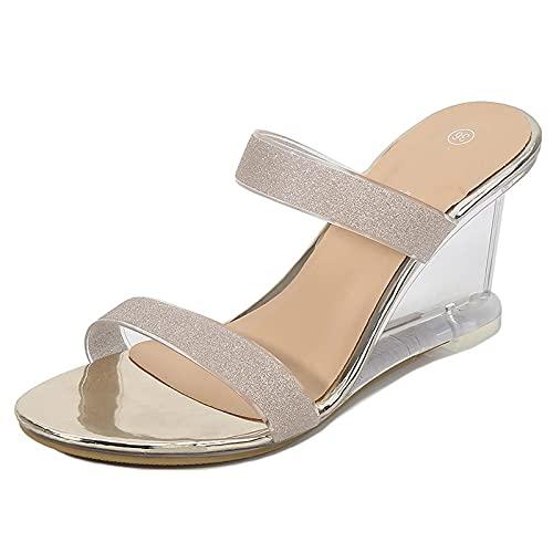 CUIHUATUQI Sandalias Transparentes para Mujer, Zapatillas De Cuña Destalonadas Casuales, Sandalias De...