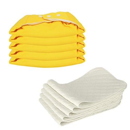 5 Stück Wiederverwendbare Waschbare Verstellbar Babywindeln Baby Windelhose Baby-Tuch-Windel Weicher Stoff, Größe Verstellbar (Gelb)