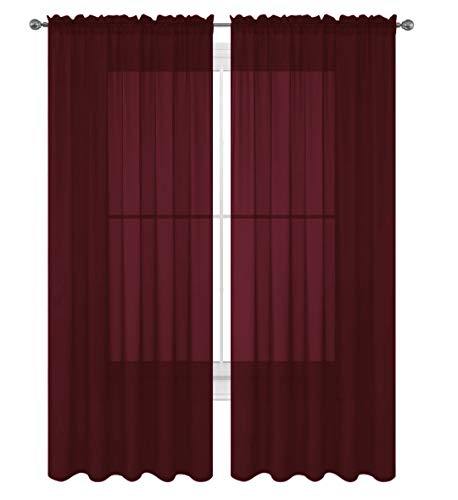 "Decotex 2 Piece Solid Elegant Sheer Curtains Fully Stitched Panels Window Treatment Drape (54"" X 84"", Burgundy)"