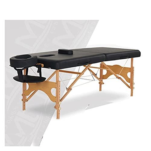 HuaBiao Table De Massage, Pliante De 2 Sections Lit Cosmétique Pliante en PU Et en Bois, avec...