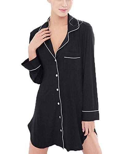Damen Nachthemden Nachthemd Modal Nachthemd Boyfriend Style Langarm Loose Pyjama Classic Negligee Nachtwäsche Kleidung (Color : Schwarz, Size : XL)