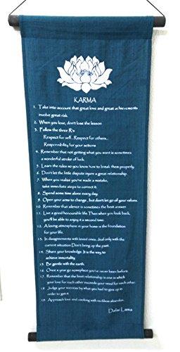 Karma Flagge, Wimpel, Banner, Zitat, Behauptung, Umgebung 90cm x 32cm Blau/Türkis
