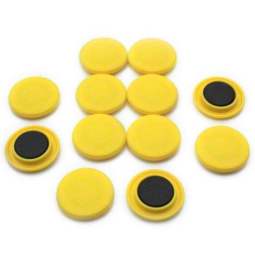 first4magnets™ Große gelbe Aushang/Planung-Magnet (40mm Durchmesser x 8mm hoch) (1 Packung mit 12), Metall, Silver, 25 x 10 x 3 cm