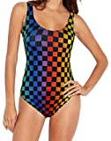 HDE Plus Size Rave Bodysuit - Sparkly Rave Clothes for Women - Music Festival Clothing for Girls - Holographic Rave Outfit - Womens Rave Wear with Rainbow Prints - Cute Glitter One Piece Bodysuits