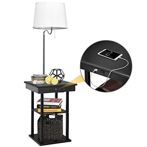 Swing Arm Floor Lamp with 2 USB Ports and Tray