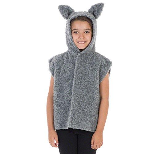 Charlie Crow Pelz Wolfs Kostüm Für Kinder - Einheitsgröße 3-8 Jahre.