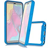 Customerfirst for LG STYLO 5 (Boost, Cricket, Sprint etc.) Full Body Rugged Crystal Clear Case Transparent View Dual Layer Enclosure Cover with Built in Screen Protector & TPU Bumper Frame (Blue)