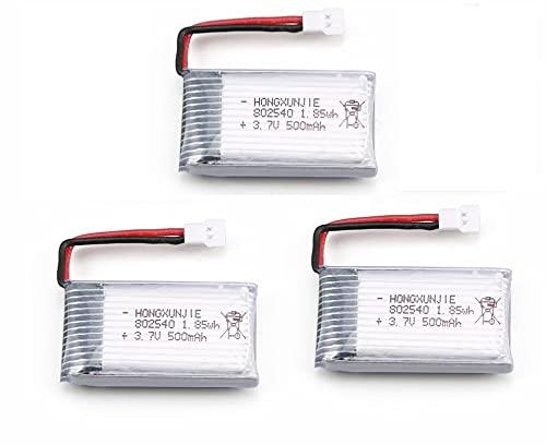 YUNIQUE Italia 3 Pezzi Batteria Lipo Ricaricabile (3.7v, 500 mAh Lipo) per Rc Droni Quadricotteri Syma X5 X5C X5SC X5SW, Cheerson CX-30W, Skytech M68, Wltoys F949