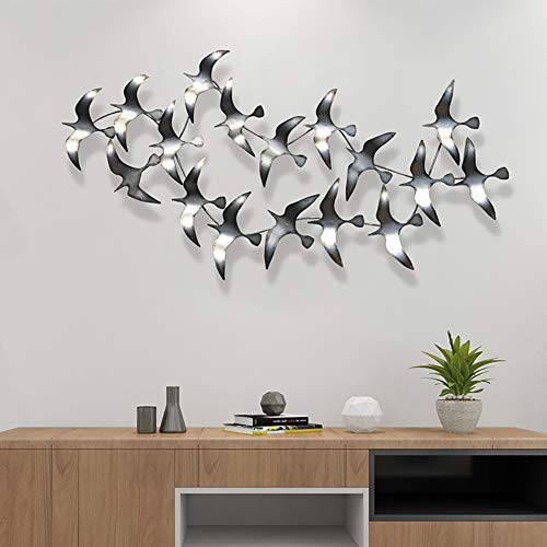 WLHER Modern Metal Wall Art, Metal Wall Décor, Flock of Birds, Birds Fly in The Sky Wrought Iron Wall Decoration – Perfect for Creative Iron Wall Hanging in Hotel Living Room 12965CM