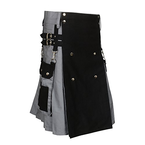Scottish Black & Gray Two Tone Utility Kilt (Belly Button Measurement 44)