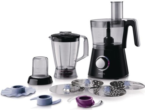 Philips HR7762/90 Robot Viva collection Bol + Blender + Hachoir + Disque à Frites Moteur 750watts Noir